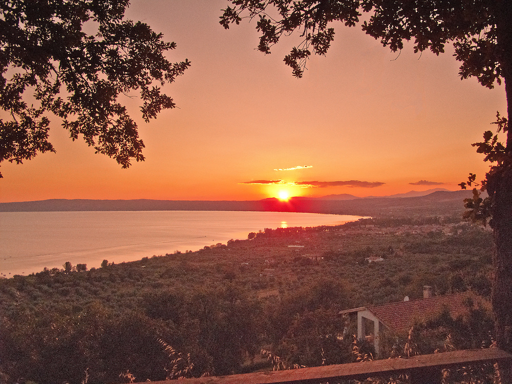 Villa San Donato in Italy, on the border between Tuscany and Lazio. Sunset over Lake Bolsena.