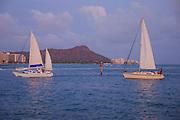 Sailboat, Diamond Head, Waikiki, Honolulu, Oahu, Hawaii