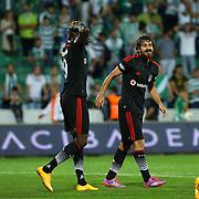 Besiktas's Veli Kavlak (R) during the Turkish soccer super league match Bursaspor between Besiktas at the Ataturk Stadium in Bursa Turkey on Monday, 22 September 2014. Photo by TURKPIX