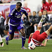 HARRISON, NEW JERSEY- APRIL 24: Kevin Molino #18 of Orlando City FC in action during the New York Red Bulls Vs Orlando City MLS regular season match at Red Bull Arena, Harrison, New Jersey on April 24, 2016 in New York City. (Photo by Tim Clayton/Corbis via Getty Images)