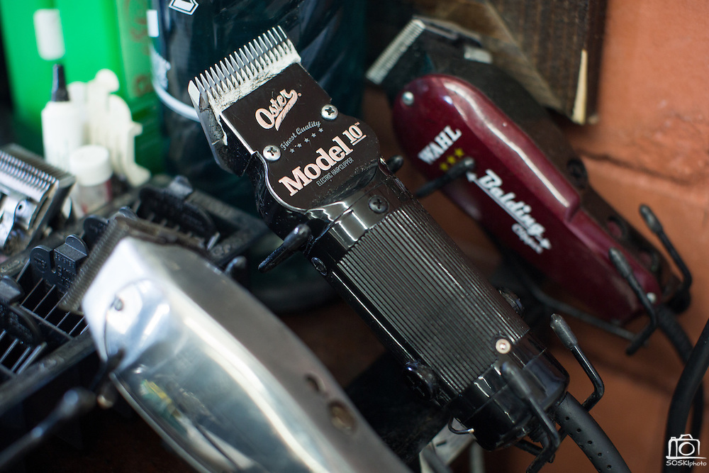 Dozens of trimmers are used for various uses at Alex's Classic Barber Shop & Shaves in Fremont, California, on April 9, 2014. (Stan Olszewski/SOSKIphoto)