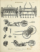 Husbandry Mechanical Farming Tools Copperplate engraving From the Encyclopaedia Londinensis or, Universal dictionary of arts, sciences, and literature; Volume X;  Edited by Wilkes, John. Published in London in 1811