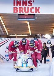 20.01.2019, Olympia Eiskanal, Innsbruck, AUT, BMW IBSF Weltcup Bob, Igls, Herren Viersitzer, 1. Lauf, im Bild Pilot Yunjong Won mit Donghyun Kim, Jinsu Kim, Jeahan Oh (KOR) // Pilot Yunjong Won with Donghyun Kim Jinsu Kim Jeahan Oh of Korea in action during the 1st run of men's four-man Bobsleigh of the BMW IBSF Bob World Cup at the Olympia Eiskanal in Innsbruck, Austria on 2019/01/20. EXPA Pictures © 2019, PhotoCredit: EXPA/ Johann Groder