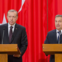 Recep Tayyip Erdogan (L) Prime Minister of Turkey and his counterpart Viktor Orban (R) inspect the guard of honor during a welcoming ceremony in Budapest, Hungary on February 05, 2013. ATTILA VOLGYI
