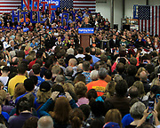 Hillary Clinton speaks to a packed house at the carpenter's training center in Affton.
