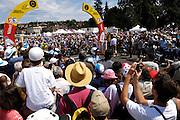 France, Bourgoin-Jallieu, 23 July 2009: Images from the start of Stage 19, the 179 km stage from Bourgoin-Jallieu to Aubenas. Photo by Peter Horrell / http://peterhorrell.com .