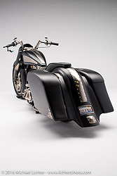 """""""Rubber Knucky"""", built from a 2014 S&S knuckle rubber mounted to a 1996 Harley-Davidson Road King by Paul Yaffe of Bagger Nation in Phoenix, AZ. Photographed by Michael Lichter during the Easyriders Bike Show in Columbus, OH on February 19, 2016. ©2016 Michael Lichter."""