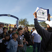 First Tee of Monterey County prepare to enter Pebble Beach Golf Links for an event prior to the AT&T National Pro Am.