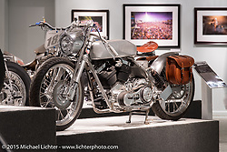 """Brian Klock's 124"""" custom Evo Bagger in Michael Lichter's Motorcycles as Art annual exhibition titled """"The Naked Truth"""" at the Buffalo Chip Gallery during the 75th Annual Sturgis Black Hills Motorcycle Rally.  SD, USA.  August 4, 2015.  Photography ©2015 Michael Lichter."""