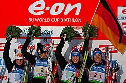11.12.2010, Biathlonzentrum, Hochfilzen, AUT, IBU Biathlon Worldcup, Hochfilzen, Staffel Frauen, im Bild Die Siegerstaffel, Team Germany, # 02 - 04, HENKEL Andrea, GER, # 02 - 03, BUCHHOLZ Sabrina, GER, # 02 - 02, NEUNER Magdalena, GER, # 02 - 01, HITZER Kathrin, GER, am Podium, Siegerehrung // during the E.ON IBU Biathlon Worldcup 2010 Relay Women in Hochfilzen, EXPA Pictures © 2010, PhotoCredit: EXPA/ J. Feichter