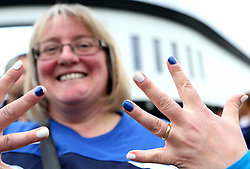 A Bristol Rugby fan shows off her painted nails in support for her team - Mandatory byline: Robbie Stephenson/JMP - 25/05/2016 - RUGBY UNION - Ashton Gate Stadium - Bristol, England - Bristol Rugby v Doncaster Knights - Greene King IPA Championship Play Off FINAL 2nd Leg.