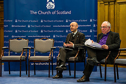 Pictured: Partick Harvey and John Chalmers, Moderator of the Church of Scotland<br /> <br /> The People Politics Hustings,  organised by the Church of Scotland, allowed voters to question SNP deputy John Swinney, Scottish Labour leader Kezia Dugdale, Scottish Liberal Democrat leader Willie Rennie, Scottish Greens co-convener Patrick Harvie and former Scottish Conservatives leader Annabel Goldie ahead of the Scottish Elections. Before the politicians had a chance to speak they had a chance to listen to five speakers with different viewpoints on how Scotland has supported them in the past and how it should support them in the future..<br /> Ger Harley   EEm 4 April 2016