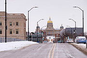 08 FEBRUARY 2021 - DES MOINES, IOWA: The Iowa State Capitol on the east end of Locust Street in downtown Des Moines. Central Iowa, including Des Moines, is enduring its coldest winter in 25 years. Daily high temperatures this week are not expected to go above 10F (-12C) and nightly lows are expected to be about -5F (-20C). In addition to the cold weather, this is the second snowiest winter in Des Moines history. So far this winter there has been more than 44 inches (111 centimeters) of snow. Des Moines normally gets about 35 inches (90 centimeters) of snow all winter.         PHOTO BY JACK KURTZ