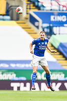 LEICESTER, ENGLAND - JULY 04: Jonny Evans of Leicester City with a defensive header during the Premier League match between Leicester City and Crystal Palace at The King Power Stadium on July 4, 2020 in Leicester, United Kingdom. Football Stadiums around Europe remain empty due to the Coronavirus Pandemic as Government social distancing laws prohibit fans inside venues resulting in all fixtures being played behind closed doors. (Photo by MB Media)