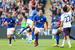 Leonardo Ulloa of Leicester City celebrates scoring a goal to equalise at 1-1 - Photo mandatory by-line: Rogan Thomson/JMP - Mobile: 07966 386802 16/08/2014 - SPORT - FOOTBALL - Leicester - King Power Stadium - Leicester City v Everton - Barclays Premier League