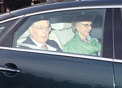 The Duke and Duchess of Gloucester leaving the Queen's Christmas lunch at Buckingham Palace, London.