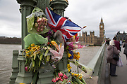 Memorial flowes on Westminster Bridge one week after the terror attack, on March 29th 2017 in London, United Kingdom.
