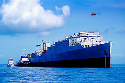 Spiegel Grove, 510 foot U.S. Navy Landing Ship Dock (LSD), awaites to become the largest artifitial reef ever created (May 2002), Key Largo, Florida Keys NMS, Atlantic Ocean