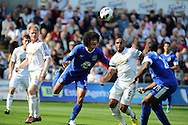 Everton's Marouane Fellaini © plays the ball down to Victor Anichebe ® for him to score the opening goal.  Barclays Premier league, Swansea city v Everton at the Liberty stadium in Swansea, South Wales on Sat 22nd Sept 2012.   pic by  Andrew Orchard, Andrew Orchard sports photography,