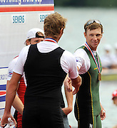Lucerne, SWITZERLAND.  left , George DRINKWATER and  Drew GINN, shake hands after the awards ceremony, at the  2008 FISA World Cup Regatta, Round 2.  Lake Rotsee, on Sunday, 01/06/2008.   [Mandatory Credit:  Peter Spurrier/Intersport Images].Lucerne International Regatta. Rowing Course, Lake Rottsee, Lucerne, SWITZERLAND.