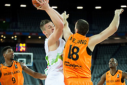 Alen Omic of Slovenia vs Nicolas de Jong of Netherlands during basketball match between Slovenia vs Netherlands at Day 4 in Group C of FIBA Europe Eurobasket 2015, on September 8, 2015, in Arena Zagreb, Croatia. Photo by Vid Ponikvar / Sportida