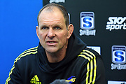 Hurricanes coach John Plumtree seen at the press conference during the 2019 Investec Super Rugby game between Hurricanes vs Jaguares, Westpac Stadium, Wellington, Friday 17th May 2019. Copyright Photo: Raghavan Venugopal / © www.Photosport.nz 2019