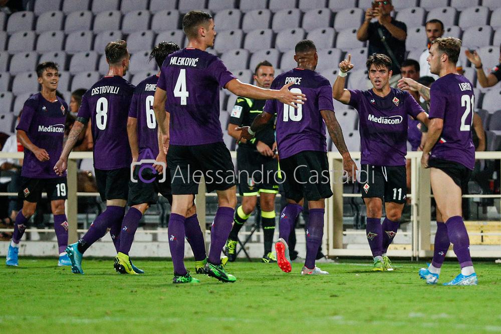FIRENZE - ITALY, 11-08-19 -  AMICHEVOLE - STADIO ARTEMIO FRANCHI - FIORENTINA VS GALATASARAY FOTO DI CASTALDI, NELLA FOTO: Esultanza Sottil dopo il Goal