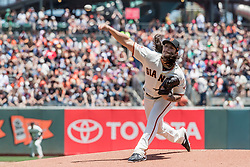 June 3, 2018 - San Francisco, CA, U.S. - SAN FRANCISCO, CA - JUNE 03: San Francisco Giants Pitcher Dereck Rodriguez (57) throws a pitch during the first inning of the MLB game between the Philadelphia Phillies and San Francisco Giants on June 3, 2018, at AT&T Park in San Francisco, CA. (Photo by Bob Kupbens/Icon Sportswire) (Credit Image: © Bob Kupbens/Icon SMI via ZUMA Press)