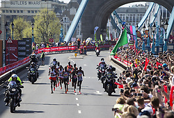 LONDON, April 22, 2018  Athletes of men's elite group compete during the London Marathon 2018 in London, Britain on April 22, 2018. (Credit Image: © Xu Hui/Xinhua via ZUMA Wire)