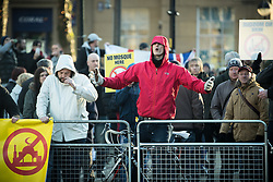 """© Licensed to London News Pictures . 26/11/2016 . Bolton , UK . Those opposed to mosques , pictured at the demonstration . Approximately 100 people attend a demonstration against the construction of mosques in Bolton , under the banner """" No More Mosques """" , organised by a coalition of far-right organisations and approximately 150 anti fascists opposing the demonstration , in Victoria Square in Bolton Town Centre . Photo credit : Joel Goodman/LNP"""