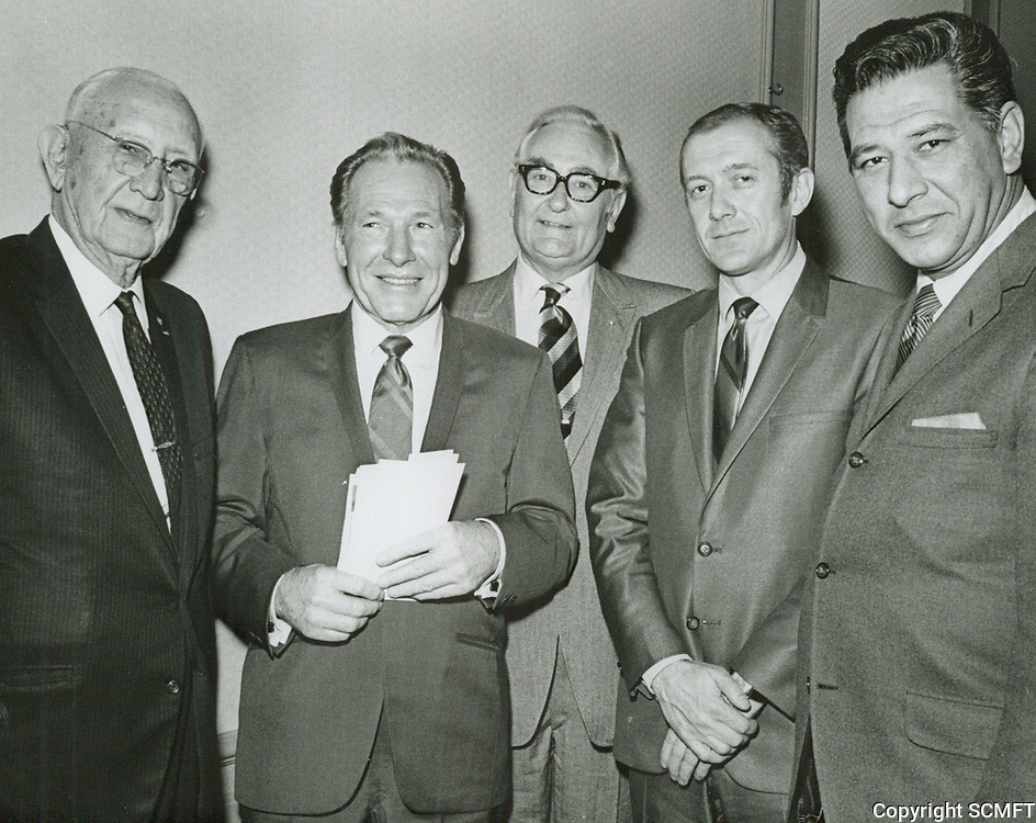 1970 C. E. Toberman with Mayor Yorty during his 90th birthday