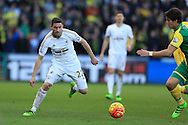 Angel Rangel of Swansea city in action. Barclays Premier league match, Swansea city v Norwich city at the Liberty Stadium in Swansea, South Wales  on Saturday 5th March 2016.<br /> pic by  Andrew Orchard, Andrew Orchard sports photography.