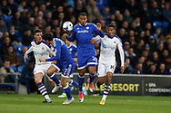 Kenneth Zohore of Cardiff city jumps to win the ball ahead of Isaac Hayden of Newcastle Utd. EFL Skybet championship match, Cardiff city v Newcastle Utd at the Cardiff City Stadium in Cardiff, South Wales on Friday 28th April 2017.<br /> pic by Andrew Orchard, Andrew Orchard sports photography.