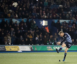 Cardiff Blues' Gareth Anscombe kicks a conversion<br /> <br /> Photographer Simon King/Replay Images<br /> <br /> Guinness Pro14 Round 9 - Cardiff Blues v Connacht Rugby - Friday 24th November 2017 - Cardiff Arms Park - Cardiff<br /> <br /> World Copyright © 2017 Replay Images. All rights reserved. info@replayimages.co.uk - www.replayimages.co.uk