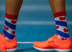 The Friesland socks by Jeanelle Scheper during the Dutch Indoor Athletics Championship on February 23, 2020 in Omnisport De Voorwaarts, Apeldoorn
