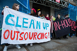 London, UK. 18th March, 2019. Students and supporters of the Independent Workers of Great Britain (IWGB) trade union protest outside University of London Senate House against their hosting of a Landlord Forum, as well as against the university's policy of outsourcing workers used as security, cleaners, gardeners, porters, caterers and receptionists. It is very difficult for such precarious workers to find suitable housing in London and the private housing sector operates in such a way as to increase their precarity.