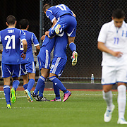 Abihazira Shimon, Israel, is congratulated by team mates after scoring his sides second goal during the Israel V Honduras  International Friendly football match at Citi Field, Queens, New York, USA. 2nd June 2013. Photo Tim Clayton