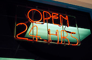 Neon Open sign in a window