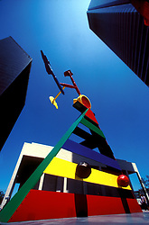 Stock photo of the colorful Miró Sculpture in the JP Morgan Chase Plaza in Houston Texas