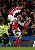 Photo: Olly Greenwood.<br />Chelsea v Arsenal. The Barclays Premiership. 10/12/2006. Arsenal's Matthieu Flamini celebrates scoring withh Robin Van Persie
