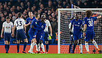 Football - 2018 / 2019 EFL Carabao Cup (League Cup) - Semi-Final, Second Leg: Chelsea (0) vs. Tottenham Hotspur (1)<br /> <br /> Chelsea players congratulate goal scorer Ngolo Kante (Chelsea FC) at Stamford Bridge <br /> <br /> COLORSPORT/DANIEL BEARHAM