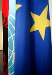PRISTINA, KOSOVO - DECEMBER 14 - Zastave Albanije, UN in EU