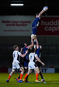 Sale Sharks flanker Sam Dugdale stretches to take a line-out during the European Champions Cup match Sale Sharks -V- Edinburgh Rugby at The AJ Bell Stadium, Greater Manchester,England United Kingdom, Saturday, December 19, 2020. (Steve Flynn/Image of Sport)