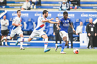 LEICESTER, ENGLAND - JULY 04: Kelechi Iheanacho of Leicester City pushes forward ahead of Luka Milivojevic of Crystal Palace during the Premier League match between Leicester City and Crystal Palace at The King Power Stadium on July 4, 2020 in Leicester, United Kingdom. Football Stadiums around Europe remain empty due to the Coronavirus Pandemic as Government social distancing laws prohibit fans inside venues resulting in all fixtures being played behind closed doors. (Photo by MB Media)