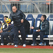 Ankaragucu's coach Sedat KARABUK (C) during their Turkish superleague soccer match Kasimpasa between Ankaragucu at the Recep Tayyip Erdogan stadium in Istanbul Turkey on Saturday 19 February 2011. Photo by TURKPIX