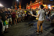 Music after the game on the Olympic boulevard. Thousands of Brazilians and some foreigners watched the Brazil vs Germany Olympic football final match in Praca Maua, on the Olympic boulevard, Rio de Janeiro, celebrating Brazis victory, in what could be regarded as a revenge match after Germany beat them 7-1 in the same Maracana Stadium in 2014.