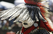 Mickey Mason of the Caddo Nation of Oklahoma, now living in Shoreline, has the honor of leading the Grand Entry at the Seafair Indian Days Pow Wow in Discovery Park.<br /> Alan Berner / The Seattle Times