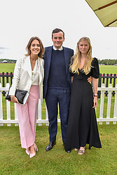 Daisy Knatchbull, George Coleridge and Emma Weaver at the Cartier Queen's Cup Polo 2019 held at Guards Polo Club, Windsor, Berkshire. UK 16 June 2019 - <br /> <br /> Photo by Dominic O'Neill/Desmond O'Neill Features Ltd.  +44(0)7092 235465  www.donfeatures.com
