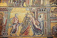 The Medieval mosaics of the ceiling of The Baptistry of Florence Duomo ( Battistero di San Giovanni ) showing a scene from the life of Mary,  started in 1225 by Venetian craftsmen in a Byzantine style and completed in the 14th century. Florence Italy .<br /> <br /> If you prefer you can also buy from our ALAMY PHOTO LIBRARY  Collection visit : https://www.alamy.com/portfolio/paul-williams-funkystock/byzantine-art-antiquities.html . Type -   Florence   - into the LOWER SEARCH WITHIN GALLERY box. Refine search by adding subject etc<br /> <br /> Visit our BYZANTINE ART PHOTO COLLECTION for more   photos  to download or buy as prints https://funkystock.photoshelter.com/gallery-collection/Roman-Byzantine-Art-Artefacts-Antiquities-Historic-Sites-Pictures-Images-of/C0000lW_87AclrOk .<br /> <br /> Visit our ITALY PHOTO COLLECTION for more   photos of Italy to download or buy as prints https://funkystock.photoshelter.com/gallery-collection/2b-Pictures-Images-of-Italy-Photos-of-Italian-Historic-Landmark-Sites/C0000qxA2zGFjd_k<br /> .<br /> <br /> Visit our MEDIEVAL PHOTO COLLECTIONS for more   photos  to download or buy as prints https://funkystock.photoshelter.com/gallery-collection/Medieval-Middle-Ages-Historic-Places-Arcaeological-Sites-Pictures-Images-of/C0000B5ZA54_WD0s