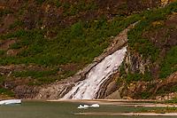 377 foot high (115 meters) Nugget Creek Falls, a.k.a. Mendenhall Glacier Falls, Juneau, Alaska USA.